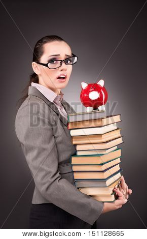 Young student with book in education concept