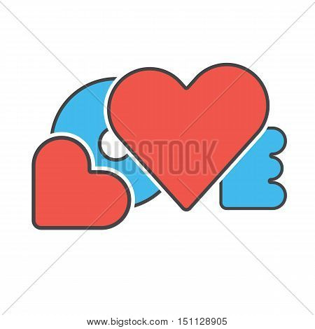 red blue color creative design word love with hearts symbol love concept vector illustration