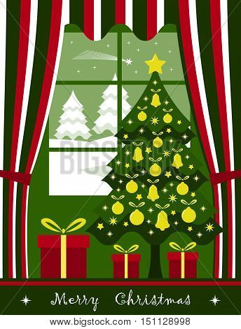 vector christmas tree with gifts at window