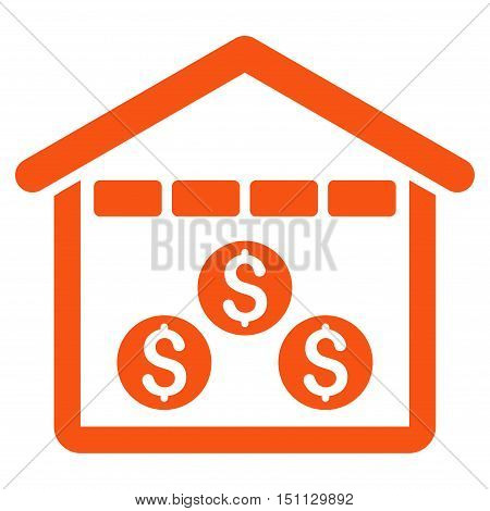 Money Depository icon. Glyph style is flat iconic symbol with rounded angles, orange color, white background.
