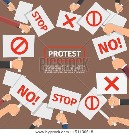 Protesters people concept. Protest signs frame with text. Signboard for protest and revolution, banner and signboard with symbol. Vector illustration