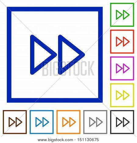 Set of color square framed media fast forward flat icons