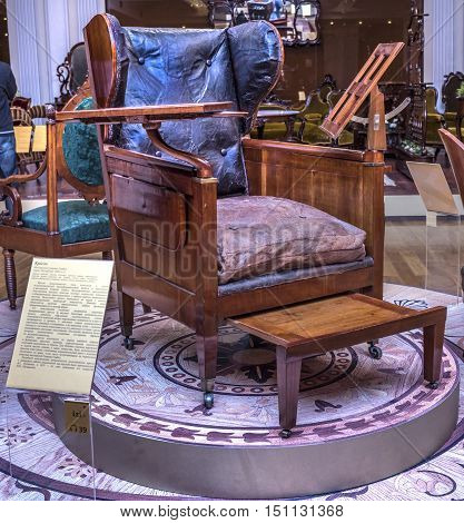 Moscow Russia -September 092016: Armchair- workshop G. Gambs. Early 19th century. Historical Museum