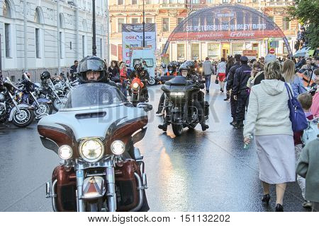 St. Petersburg, Russia - 12 August, Coming on holiday bikers of all ages,12 August, 2016. The annual International Festival of Motor Harley Davidson in St. Petersburg Ostrovsky Square.
