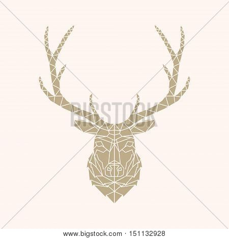 Abstract Vector geometric Line Style Deer Face Illustration. Isolated. geometric polygonal triangle illustration for use in design for card invitation poster banner.