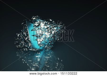 Broken Light Blue Glass Figure