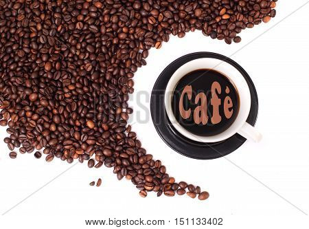 Coffee beans with cup full of black coffe