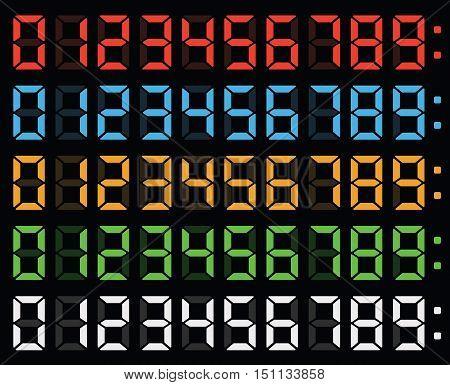 led display numbers, digital clock numbers font