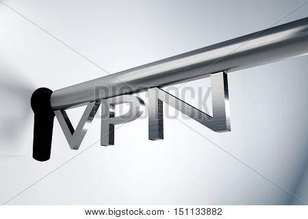 metal key server lock keyhole vpn 3D illustration