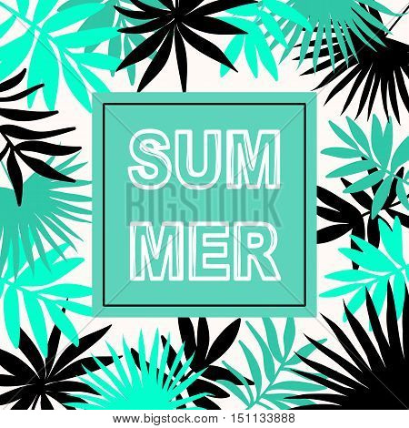 Summer hawaiian typographic flyer design with tropical palm leaves, vector illustration