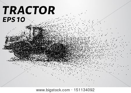 Huge tractor consists of particles. Vector illustration of a tractor consisting of small circles. EPS 10