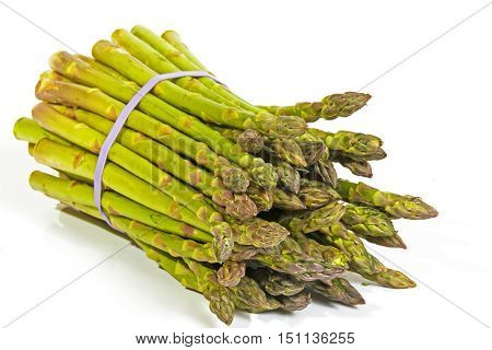 Bunch Of Fresh Green Asparagus Secured With Elastic Band