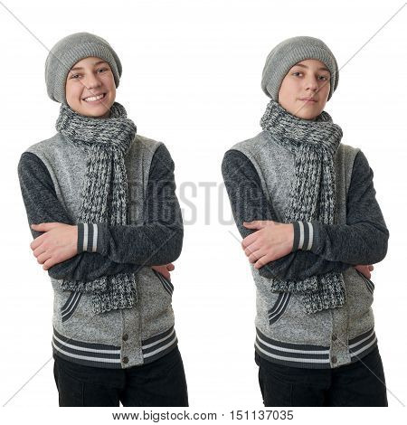 Set of cute teenager boy in gray sweater, hat and scarf with crossed arms over white isolated background, half body