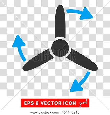 Vector Three Bladed Screw Rotation EPS vector icon. Illustration style is flat iconic bicolor blue and gray symbol on a transparent background.