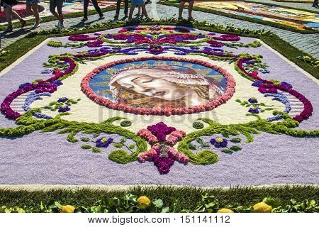 Rome Italy - June 29 2014: On the occasion of the patron saints of the city of Rome St. Paul and St. Peter was held in Piazza Pio XII and in the Via della Conciliazione Traditional Flower Festival. Detail of a floral decoration