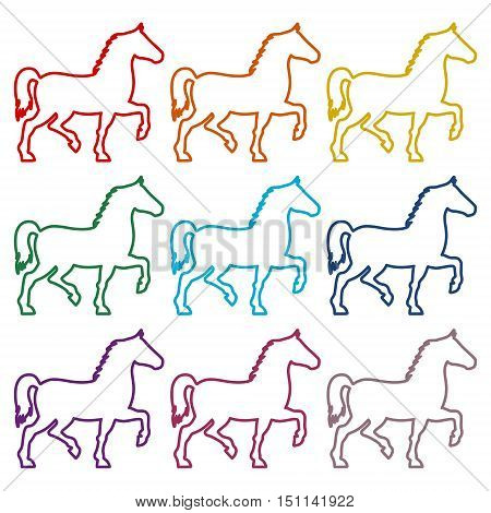 Horse silhouette line icons set on white background