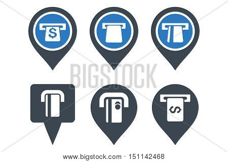 ATM Map Pointer glyph icons. Icon style is bicolor smooth blue flat symbols with rounded angles on a white background.