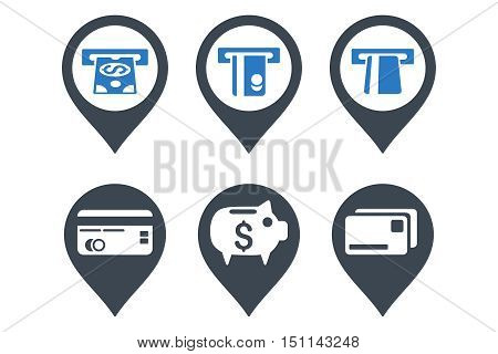 Bank ATM Pointer glyph icons. Icon style is bicolor smooth blue flat symbols with rounded angles on a white background.