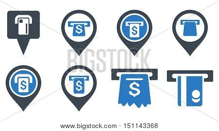Bank ATM Pointers glyph icons. Icon style is bicolor smooth blue flat symbols with rounded angles on a white background.