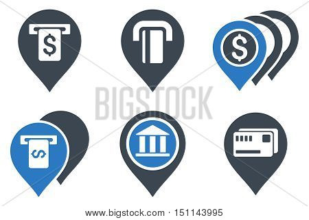 Banking ATM Pointers glyph icons. Icon style is bicolor smooth blue flat symbols with rounded angles on a white background.