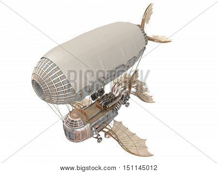 3d illustration of a fantasy airship in steampunk style on isolated background