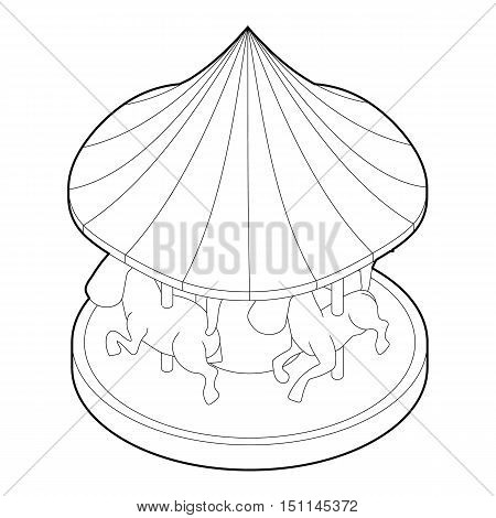 Carousel with horses icon. Outline illustration of carousel with horses vector icon for web