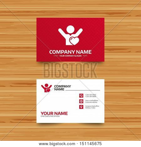 Business card template. Fans love icon. Man raised hands up sign. Phone, globe and pointer icons. Visiting card design. Vector