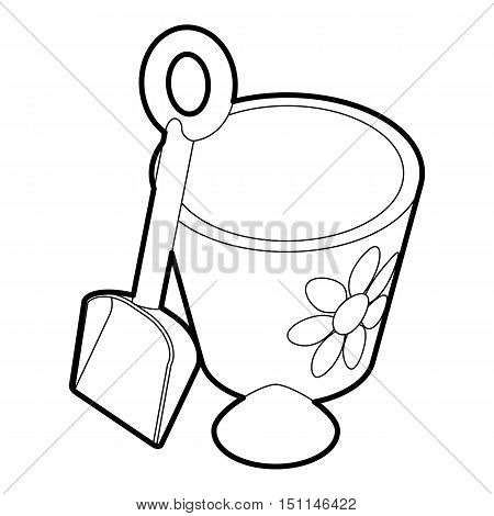 Children bucket with shovel icon. Outline illustration of bucket with shovel vector icon for web