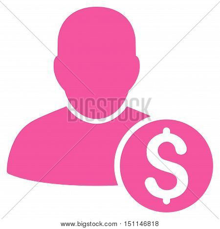 Businessman icon. Glyph style is flat iconic symbol with rounded angles pink color white background.