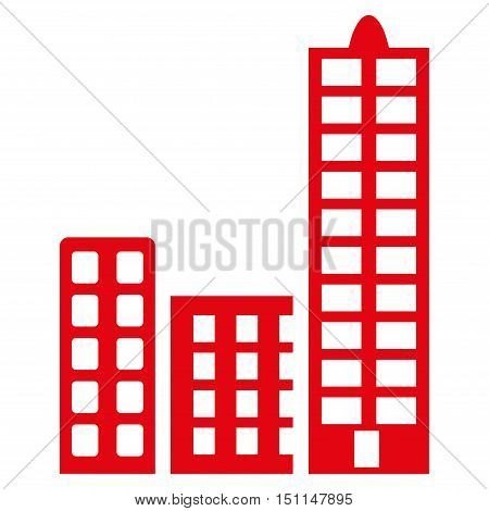 City icon. Glyph style is flat iconic symbol with rounded angles, red color, white background.