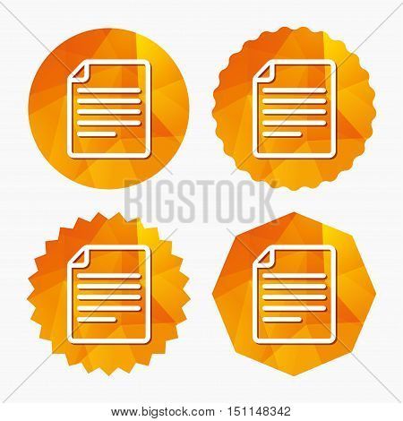 File document icon. Download doc button. Doc file symbol. Triangular low poly buttons with flat icon. Vector