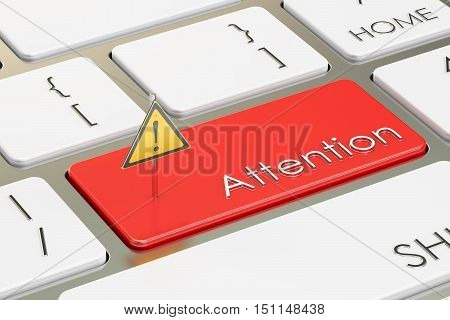 Attention button on the computer keyboard. 3D rendering