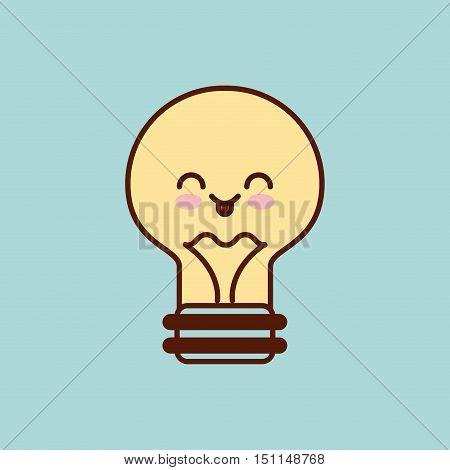 bulb character kawaii style vector illustration design