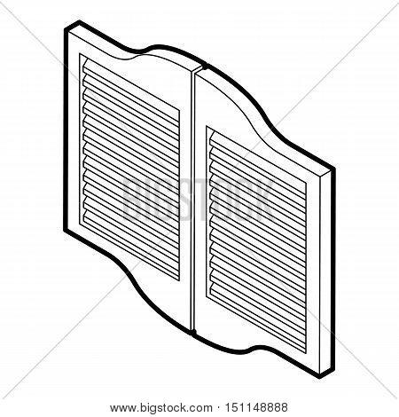 Doors in western saloon icon. Outline illustration of doors in western saloon vector icon for web