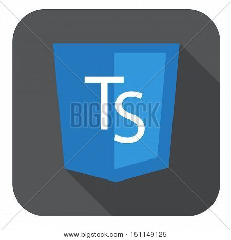 vector web development shield sign html5 javascript ts letters isolated icon on grey badge with long shadow
