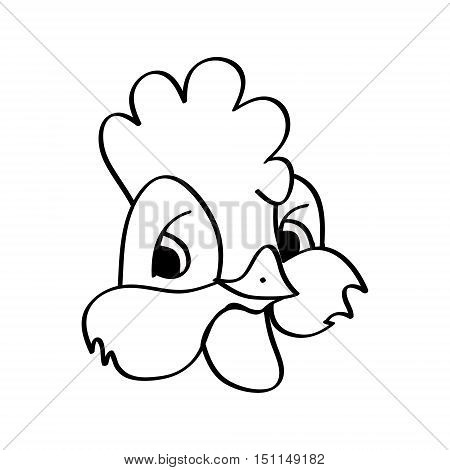 Funny Cockerel a young rooster on a white background. Drawing children vector