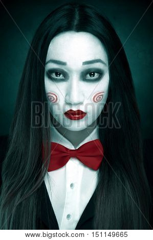 Woman with spooky makeup