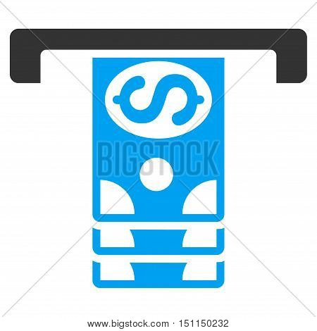 Banknotes Withdraw icon. Glyph style is bicolor flat iconic symbol with rounded angles, blue and gray colors, white background.