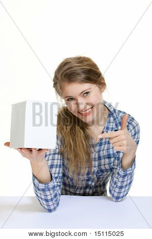 Young Woman Holding Blank Display