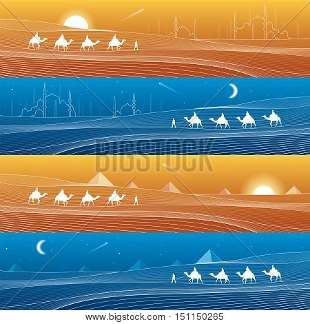 Caravan passes through the sand desert, dunes, pyramids on the horizon, mosques and minarets, white lines on blue and orange background, day and night panorama, vector design art