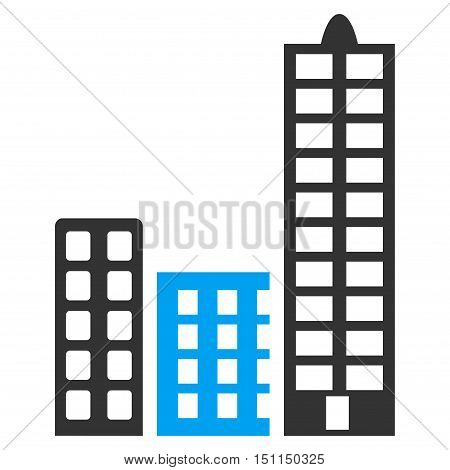 City icon. Glyph style is bicolor flat iconic symbol with rounded angles, blue and gray colors, white background.