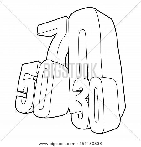 30 and 50 and 70 percent sale icon. Outline illustration of 30 and 50 and 70 percent sale vector icon for web