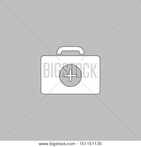 first aid kit Simple line vector button. Thin line illustration icon. White outline symbol on grey background