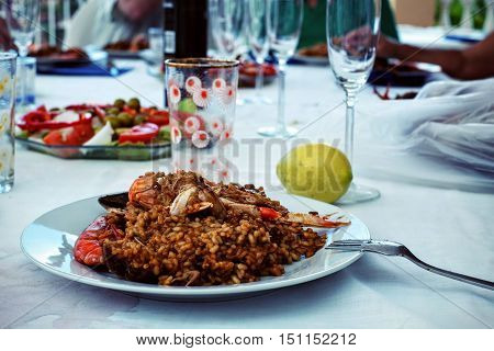Traditional Home made Spanish Paella seafood rice dish