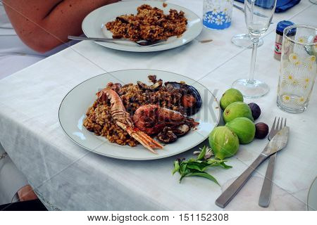 Tradiotinal Paella served at home in Barcelona Spain