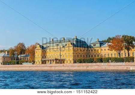 SAINT PETERSBURG RUSSIA - OCTOBER 3 2016. Prince Menshikov Palace in Saint Petersburg Russia. The palace of Prince Menshikov was the first large stone building erected in Saint Petersburg
