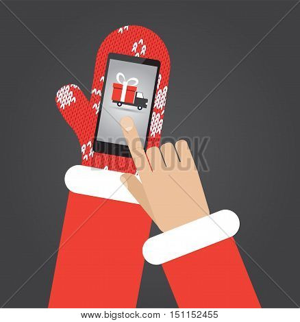 Santa's hand in red mittens click on smartphone with shopping app with shipping truck on screen. Flat vector illustration christmas card
