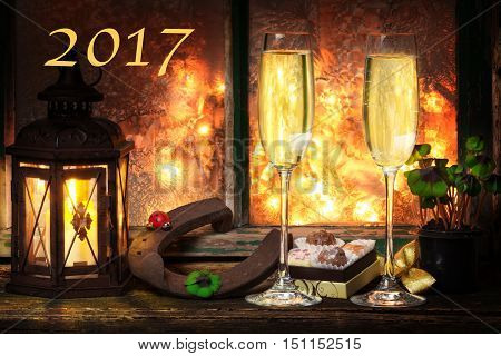 Champagne New Year's Eve happy new Year 2017