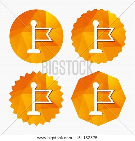 Flag pointer sign icon. Location marker symbol. Triangular low poly buttons with flat icon. Vector