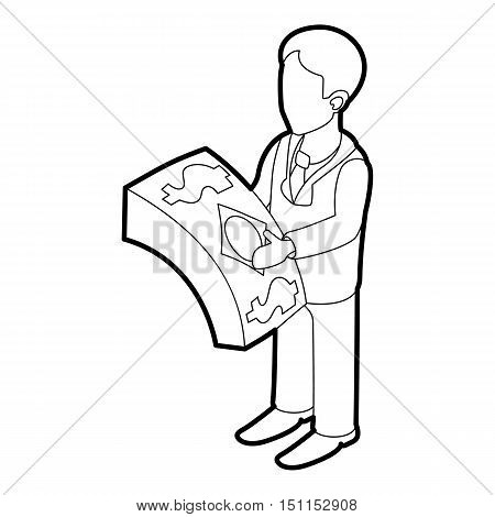 Businessman holding pack of dollars icon. Outline illustration of businessman holding pack of dollars vector icon for web